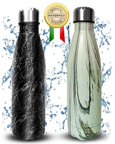 RDN Termaly Borraccia Termica 500ml Esclusive Design   Borraccia Acqua Acciaio 304 Sottovuoto con Doppia Parete   Bottiglietta Termica Senza BPA Ecologica (Scracked Black)