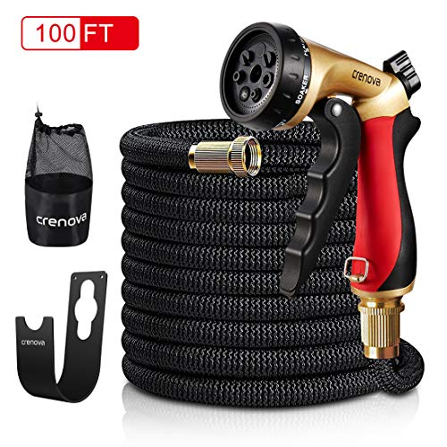 Crenova 30M Garden Hose Expandable Hose with Double Latex Core,Solid Brass Connector,Expanding Garden Hose with 7 Function Metal Spray Nozzle