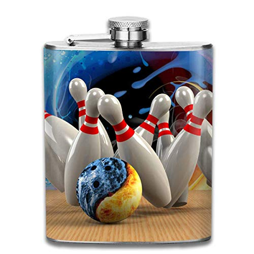 FGRYGF Edelstahlflasche Bowling Fashion Portable Stainless Steel Flachmann Whiskey Bottle for Men and Women 7 Oz