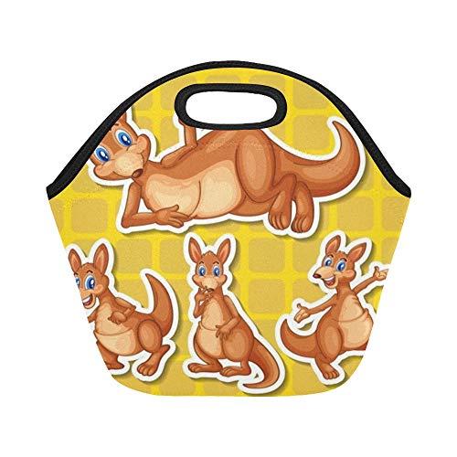 Isolierte Känguru (Isolierte Neopren Lunchpaket Set Kangaroo Large Size Wiederverwendbare Thermo Dickes Mittagessen Tragetaschen Für Brotdosen Für draußen, Arbeit, Büro, Schule)
