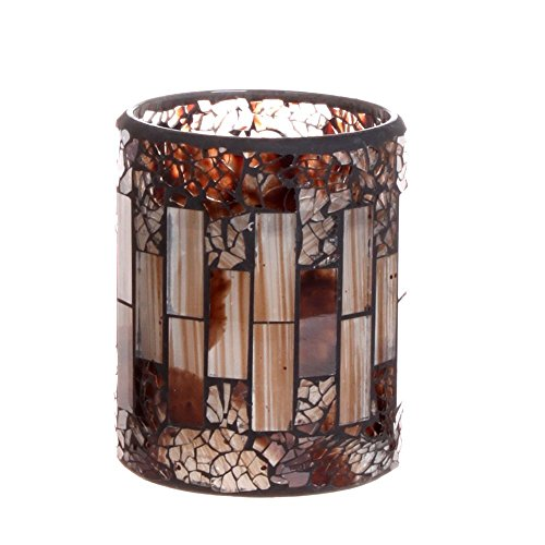 Mosaics Led Flameless Candle with Timer,DFL Brownness Color Crack Pattern Mosaic Glass Surface ,Battery Operated,7.6X10.1 cm