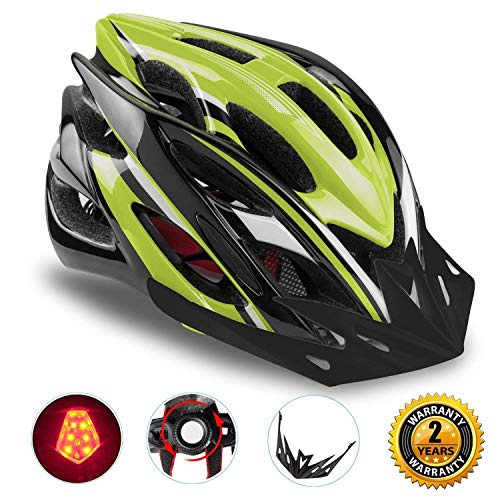 Shinmax Casco Especializado de la Bici con la luz Seguridad Casco Ciclo Adjustable Deporte Cascos Bici Bicicleta Camino Mountain Biking Motocicleta Hombres Mujeres Adultos(Negroverde-Gran Luz)