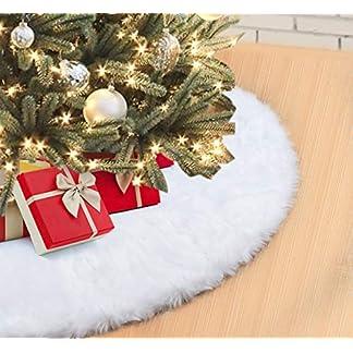 Falda de Árbol de Navidad 122cm Blanco Suave Felpa Faldas para el Árbol Navidad Mullido Decoración de Parte Inferior