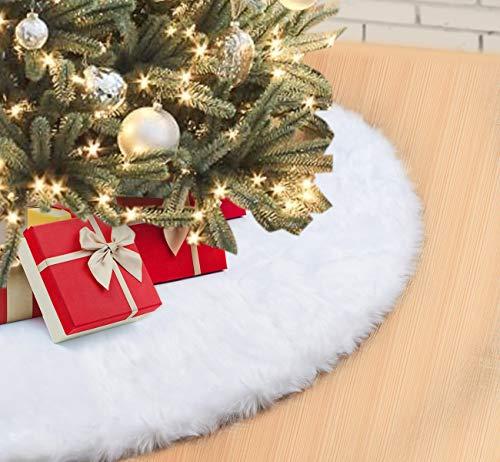 Falda Árbol Navidad 122cm Blanco Suave Felpa Faldas