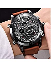 Micacchi Analogue Digital Multi Colour Dial Leather Brown Strap Mens Watches Boys Watch PTM