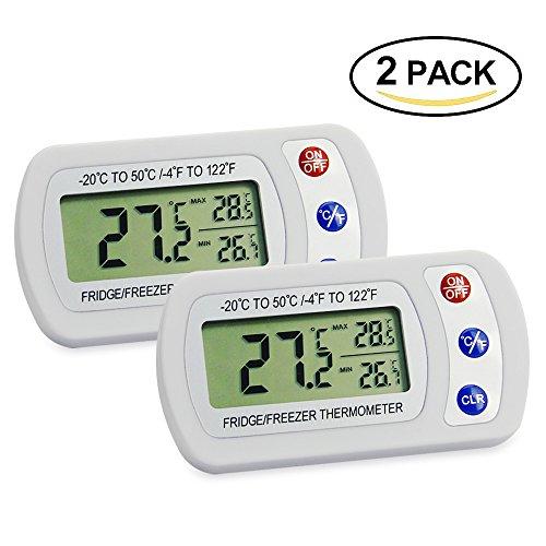 [2 Stück] Digitales kühlschrankthermometer, Jtdeal LCD-Display Gefrierschrank Thermometer mit minimum maximum Wert für Kühlschrank, Gefrierschrank, Gewächshaus,Wohnhaus