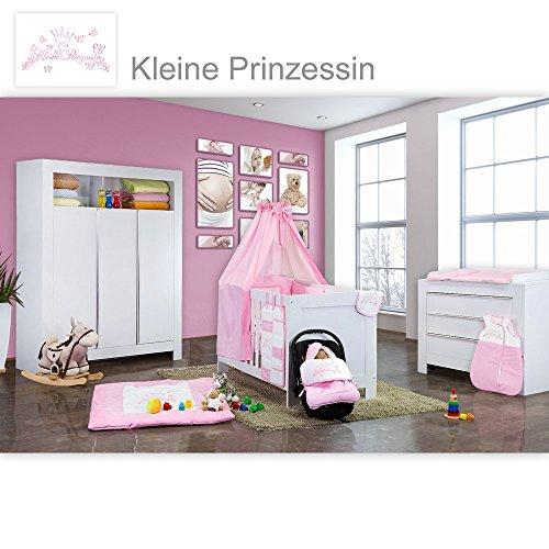 Preisvergleich Produktbild Babyzimmer Felix in weiss 21 tlg. mit 3 türigem Kl + Kleine Prinzessin in Rosa