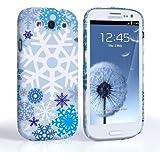 Caseflex Samsung Galaxy S3 Hülle Weiß / Blau Winter Weihnachten Schneeflocke Muster Hart Schutzhülle