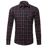 Xmiral Herren Bluse Art und Weise beiläufige Langarmhemd Taschen Lattice Bedruckte T-Shirt (L,C-Orange)