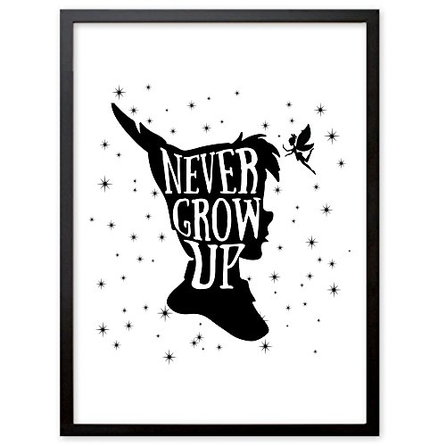 """Kinderzimmer Kunstdruck, Poster mit Spruch """"Never Grow Up"""", Deko Bild Print Plakat DINA4, Ideal auch als Geschenk"""