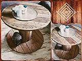Holz Tisch Kabeltrommel Couchtisch kleine Kabeltrommel OHNE Deko, ca. 75 cm Durchmesser, 56 cm hoch