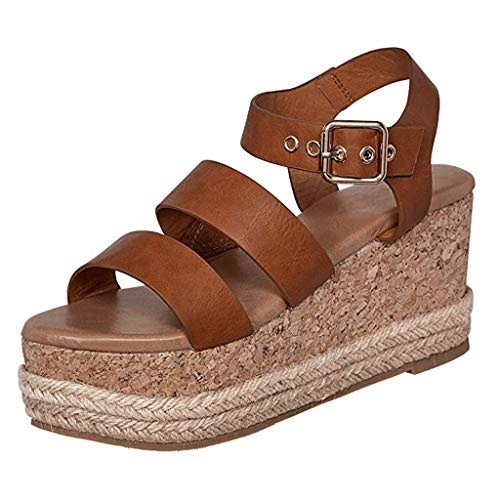 Mitlfuny Damen Sommer Sandalen Bohemian Flach Sandaletten Sommer Strand Schuhe,Frauen Damenmode Wedges High Ankle Outdoor Sandalen Peep Toe Freizeitschuhe - Lulu Womens Ankle Strap