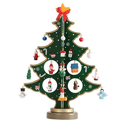 Tinksky Miniature Arbre de Noël Bureau Décoration de table Décorations de Noël Mini arbre de Noël en bois Enfants Cadeaux Enfants 30CM (Vert)