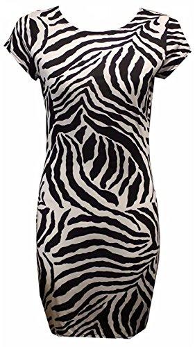 Islander Fashions Damen Cape �rmel Printed Bodycon Kleid Damen Rundhals Fancy Party Minikleid Zebra Print Medium / Large (Print Print-zebra)