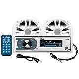 "BOSS Audio MCK632WB.64 - Paquete estéreo Marino con Bluetooth, (sin CD/DVD), MP3/USB/WMA Am/FM Radio, Altavoces DE 6,5"", Antena, Resistente a la Intemperie"