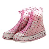 Andux Zone Couvre-Chaussures Surchaussure Antidérapant Pluie Imperméable YXT-01 (XXL, Point Rouge pour Femmes)