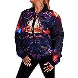 Digitaldruck Jacke Kurzjacke | Wendejacke | beidseitig tragbar| Kurze Übergangsjacke | Frauen Bomberjacke | Fliegerjacke | Pilotenjacke | Bikerjacke | Baseball-Jacke | Printjacke - 3