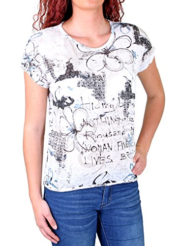 Madonna T-Shirt Damen JOSEPHINE Allover Flower Print Shirt MF-741543 Weiß