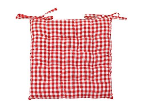 Soleil d'ocre Cojín de Silla en capitoné de algodón Vichy Rojo