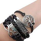 2PCS Armband Unendlichkeit Baum des Lebens Taube und Perle Silber Weiß Infinity besser Lederband anhänger (2PCS-Style 3)