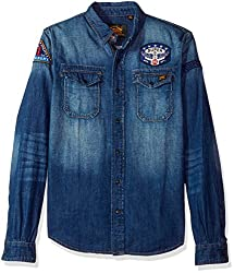 Superdry Mens Patch Denim Shirt, Freeway Blue, M