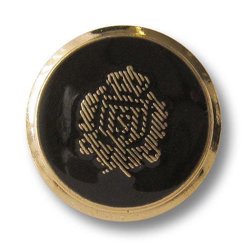 Set zeitlose schwarz goldene Blazerknöpfe aus Metall schraffiertem Wappen und Krone / Gold & Schwarz glänzend / Metallknöpfe / Ø ca. 25mm (Lorbeerkranz Krone Kostüm)