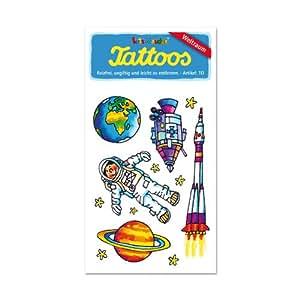 Lutz Mauder Tatouages motif espace (alien, espace, ovni, extraterrestre, fusée, lune, mars) pour anniversaire d'enfant