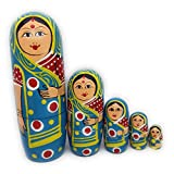 Craft Hand Traditional Indian Nesting Wooden Doll/ Hand Painted Matryoshka Stacking Dolls- Set of 5 Piece (Lady in Blue Saree)