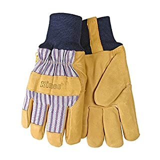 KINCO 1927KW-XL Kinco 1927KW Lined Grain Pigskin Leather Palm Gloves with Knit Wrist, XL, Yellow, Blue/Grey (Pack of 12)