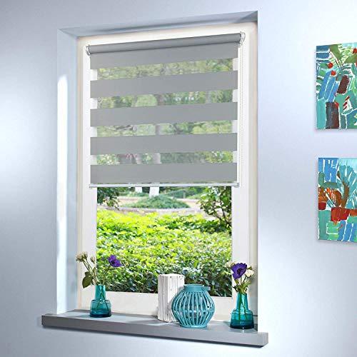 Doppelrollo nach Maß, hochqualitative Wertarbeit, alle Größen und 18 Farben verfügbar, Duo Rollo, Rollo nach Maß, für Fenster und Türen, Klemmfix ohne Bohren (120cm Höhe x 80cm Breite / Light Grey)