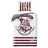 HARRY POTTER Bett-Set Baumwolle WEISS UND ROT Wappen HOGWARTS Schule BETTBEZUG 140x200cm Original...