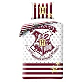 HARRY POTTER Bett-Set Baumwolle WEISS UND ROT Wappen HOGWARTS Schule BETTBEZUG 140x200cm Original WARNER BROS
