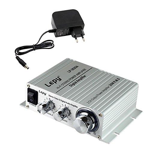 LEPY LP-2020A 20W Class-T Hifi Ampli/Amplificateur audio stéréo digital + adaptateur 3A pour iPhone, ordinateur, joueur audio etc.