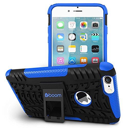 #boom Shock 2 iPhone 7 Case. Handyhüllen Mit Ständer. Schlanker, Sicherer Schutz. Maximaler Grip. Handytasche Aus Weichem Und Hartem Material. Hülle Mit Ständer. Schützt Bei Stößen Und Stürzen. Kein R Blau