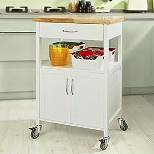Sobuy fkw06 n high quality kitchen shelf with wheels for Carrello portavivande amazon