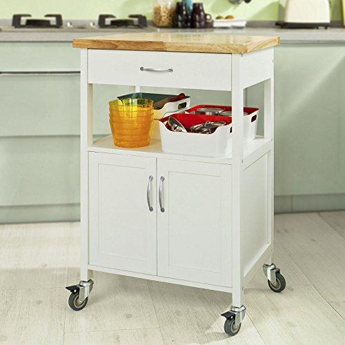 Sobuy Carrito de servir, estantería de cocina, carrito de cocina móvil, FKW22-WN,ES