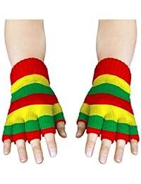 Handschuhe gestrickt, fingerlos, rot-gelb-grün