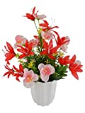#3: Thefancymart Artificial flowers Lilly with Butterfly (size 12 inchs/ 30 cms) with white round pot -1002