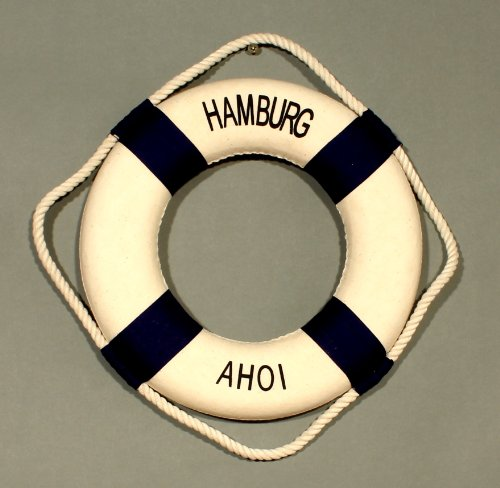 Buddel-Bini Versand Deko Rettungsring blau/weiß Hamburg Ahoi 25cm