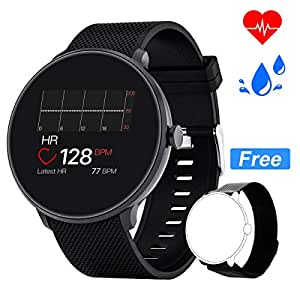 Bebinca Smartwatch Fitness Tracker Uomo Donna Notifiche Facebook/Whatsapp Contapassi Pressione Sanguigna Cardiofrequenziometro da polso per Android iOS Samsung + 1 cinturino in metallo