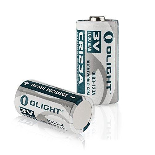 Olight® 16340 CR123A Batterie Lithium 3V 1600mAh für Olight Taschenlampe S1 Baton / S10R Baton II / S2 Baton Series und andere Geräte wie Kameras - 2-er Pack (Original)