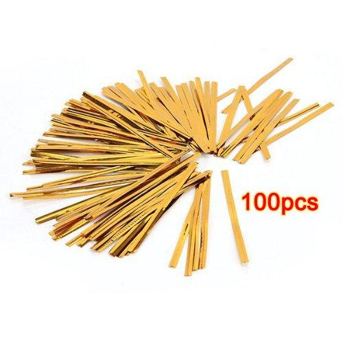 FACILLA® Lot 100 doré attache fil fer twist tie sachet bonbons biscuits sucettes