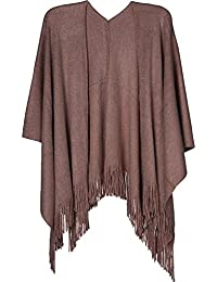 styleBREAKER Knit Cape with Glitter Threads and Fringing Cape Poncho Ladies 08010045