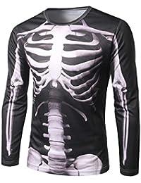 VENMO 2017 Los Hombres Esqueleto Imprimir Camiseta de Manga Larga de Moda a62f0e1b5f8cb