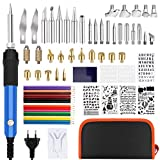 Silingsan 77pcs Kit Pirograbador de Madera, Kit Pirograbdores Electrico 60W Temperatura Regulable Soldador Pirografo Profesional Para Madera, Cuero, Escultura Grabado