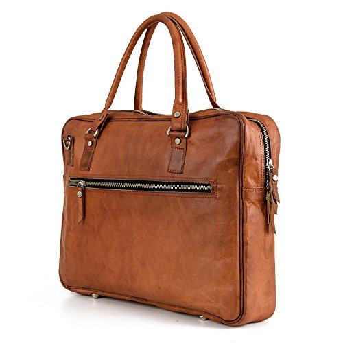 Aktentasche Leder Berliner Bags Madrid Laptoptasche 15 15,6 zoll Businesstasche Umhängetasche Handtasche Vintage Braun Herren Damen Groß XL (- Leder-nylon-schulter-bag)