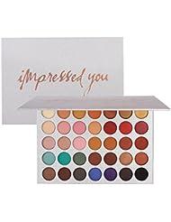 Palette de fard à paupières, Angmile mat Smoky fumé Glitter Eyeshadow Primer 35 couleurs maquillage imperméable...