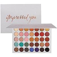 Paleta de sombras de ojos, Angmile Matte Smoky Shimmer Glitter Eyeshadow Primer 35 colores Maquillaje impermeable Paleta Cosméticos