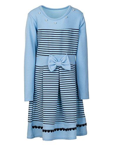 Mädchen Kleid Kinder Kurzarm Langarm Festkleid Blumenmädchen in vielen Farben M369Lbl Langarm Blau...