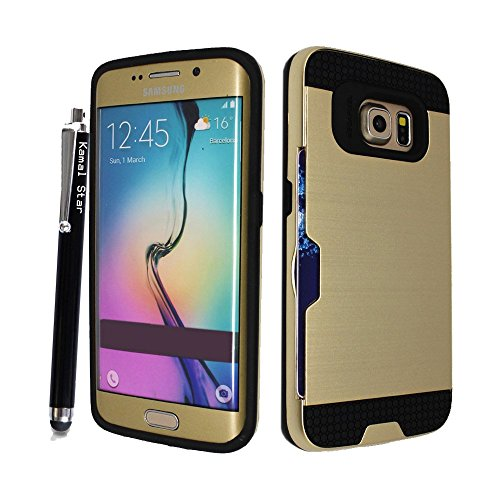 Kamal Star® iPhone 6 Plus / 6S Plus - Dual Layer Slim Armour Hybrid Hard Cover Case with Credit Card Holder + Free Stylus (iPhone 6 Plus / 6S Plus, HB Black) HB Gold